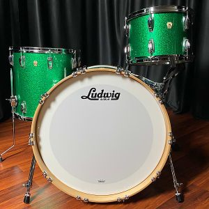 Ludwig Classic Maple Green Sparkle White Marine Bass Hoop Inlay